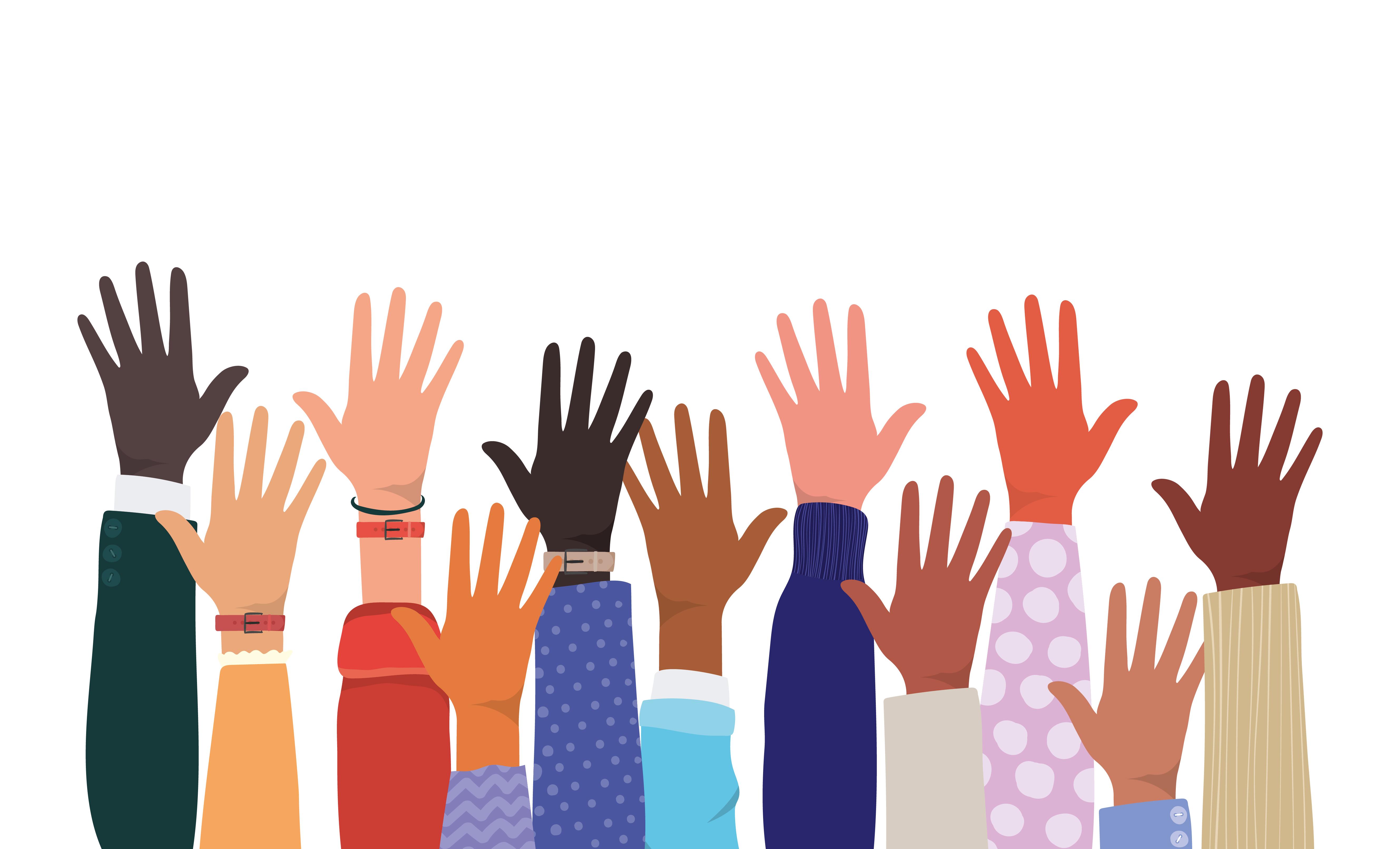 #PraCegoVer: Ilustração mostra braços com mãos para cima. As mãos têm diferentes tons de pele; os braços estão coberto com mangas de roupas em diversas cores e estampas. Nos pulsos de alguns braços há relógios ou pulseiras.