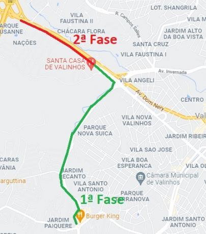 #PraCegoVer: Ilustração do Google Maps mostra traçado da ciclovia, ligando a região do Posto Petrobrás na Rodovia Francisco Von Zuben até o Shopping Valinhos.
