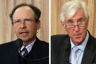 #PraCegoVer: Montagem mostra o vereador Henrique Conti no lado esquerdo e o vereador Mayr no lado direito. Ambos estão discursando na tribuna da Câmara.